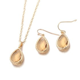 Wholesale Trendy Antique Gold Water Drop Beige Glass Jewelry Set TGCJS030