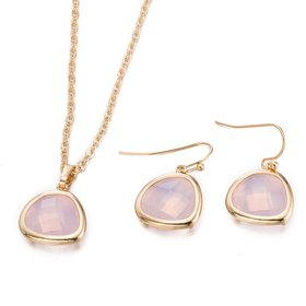 Trendy Antique Gold Heart Pink Glass Jewelry Set