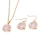 Wholesale Trendy Antique Gold Heart Pink Glass Jewelry Set TGCJS036
