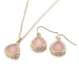 Wholesale Trendy Antique Gold Heart Pink Glass Jewelry Set TGCJS038