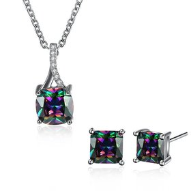 Wholesale Trendy Platinum CZ Jewelry Set TGCJS045