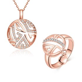 Romantic Rose Gold Round Stone Jewelry Set