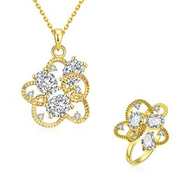 Trendy 24K Gold Plant CZ Jewelry Set