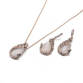 Wholesale Fashion Rhodium Water Drop Glass Jewelry Set TGGPJS091