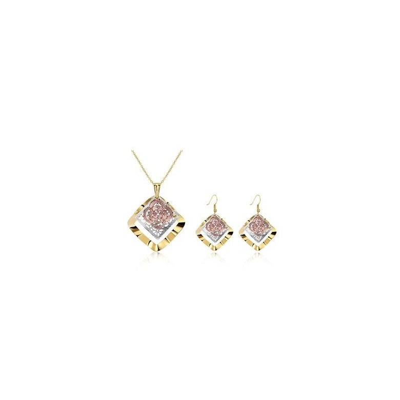 Wholesale Classic Gold Square Jewelry Set TGGPJS180