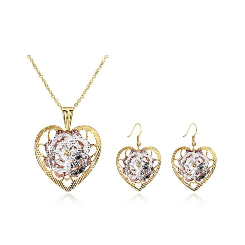 Wholesale Classic Gold Heart Jewelry Set TGGPJS192
