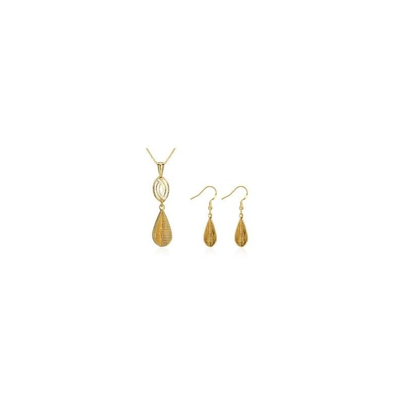 Wholesale Classic Gold Water Drop Jewelry Set TGGPJS230