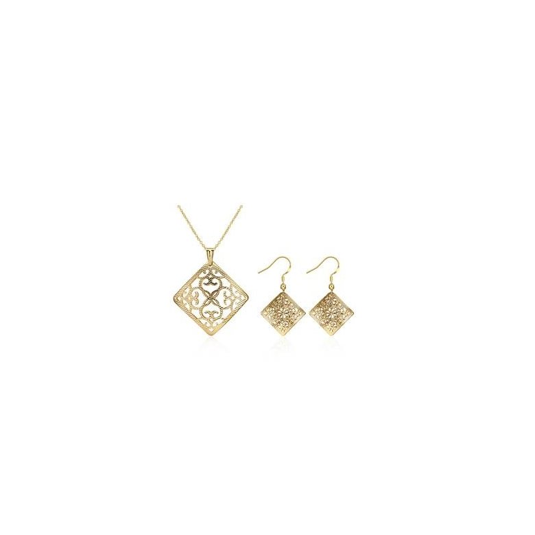 Wholesale Classic Gold Square Jewelry Set TGGPJS239