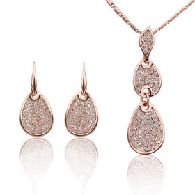 Wholesale Trendy Rose Gold Round Rhinestone Jewelry Set TGGPJS027