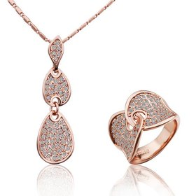 Romantic Rose Gold Round Rhinestone Jewelry Set