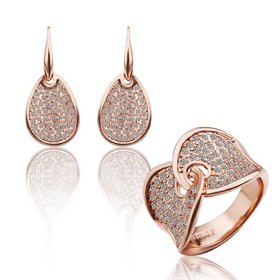 Trendy Rose Gold Round Rhinestone Jewelry Set