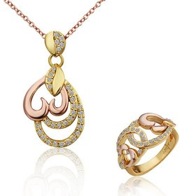 Trendy Rose Gold Plant Rhinestone Jewelry Set