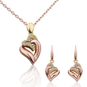 Romantic Rose Gold Plant Rhinestone Jewelry Set