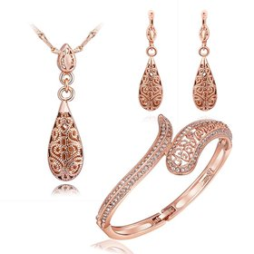 Wholesale Romantic Rose Gold Water Drop Rhinestone Jewelry Set TGGPJS010