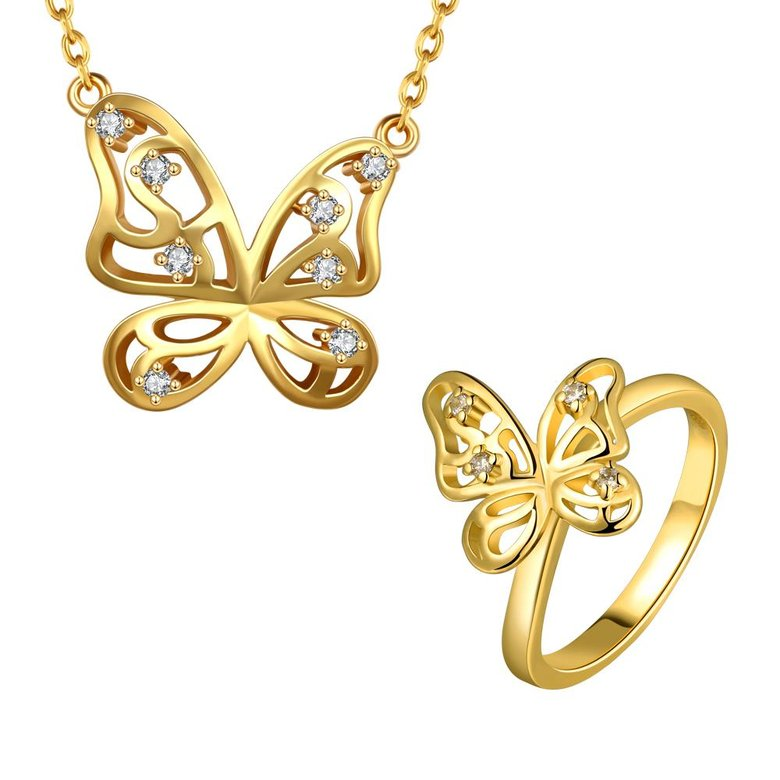 Wholesale Romantic 24K Gold Insect White CZ Jewelry Set TGGPJS240