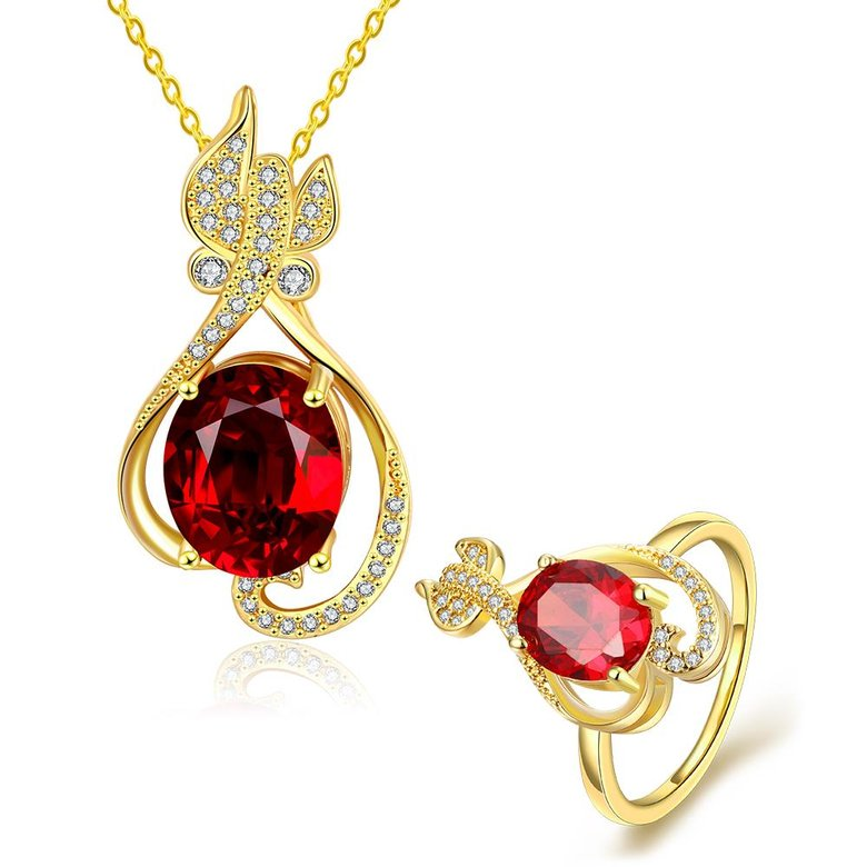 Wholesale Trendy 24K Gold Plant CZ Jewelry Set TGGPJS304