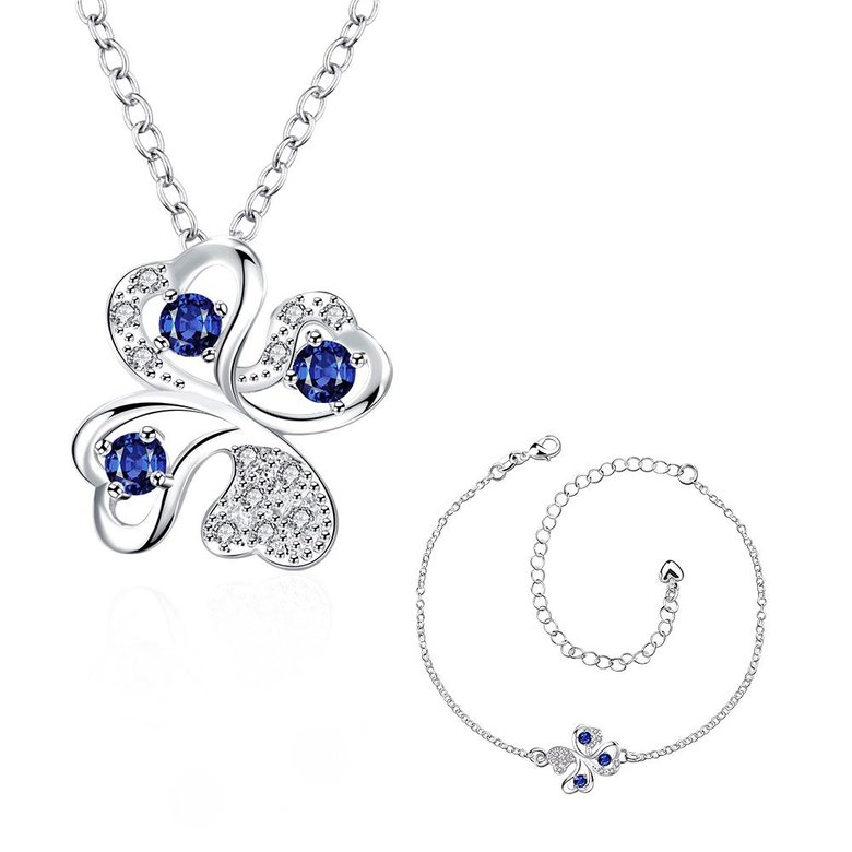 Wholesale Trendy Silver Plant Glass Jewelry Set TGSPJS437