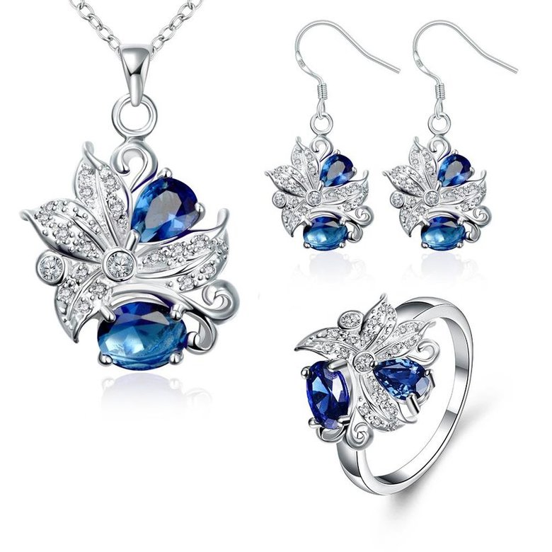 Wholesale Trendy Silver Plant Glass Jewelry Set TGSPJS480