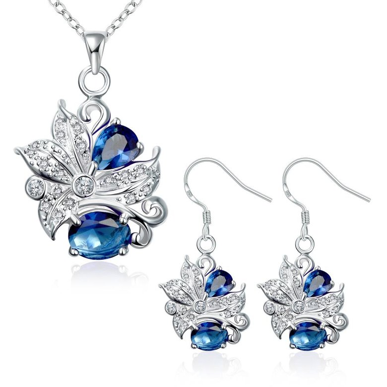 Wholesale Trendy Silver Plant Glass Jewelry Set TGSPJS490