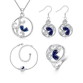 Wholesale Classic Silver Round CZ Jewelry Set TGSPJS016