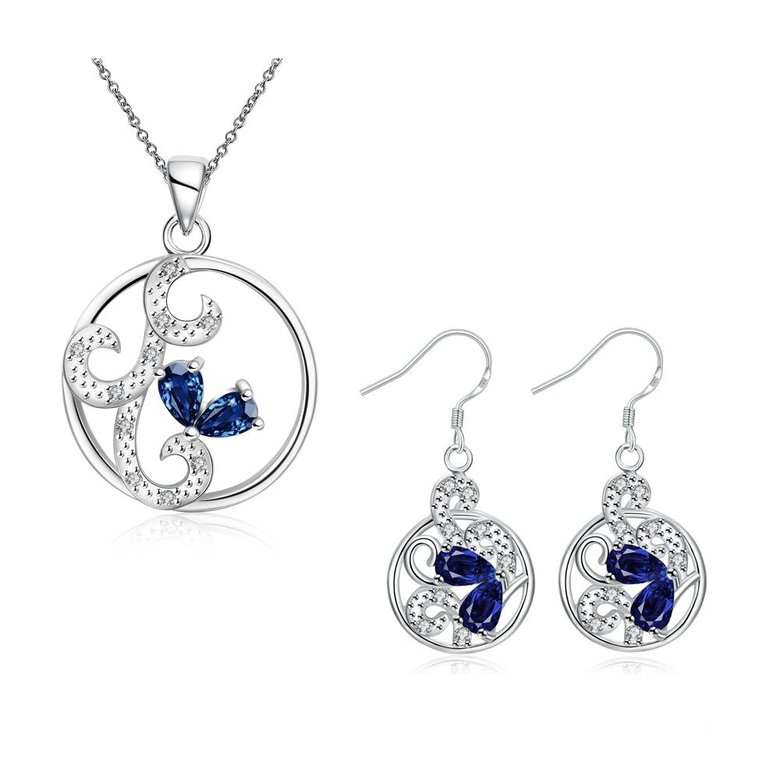 Wholesale Classic Silver Round CZ Jewelry Set TGSPJS680