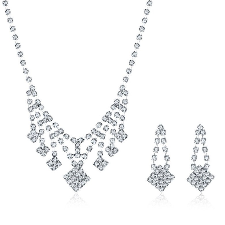 Wholesale Romantic Silver White Crystal Jewelry Set TGSPJS798