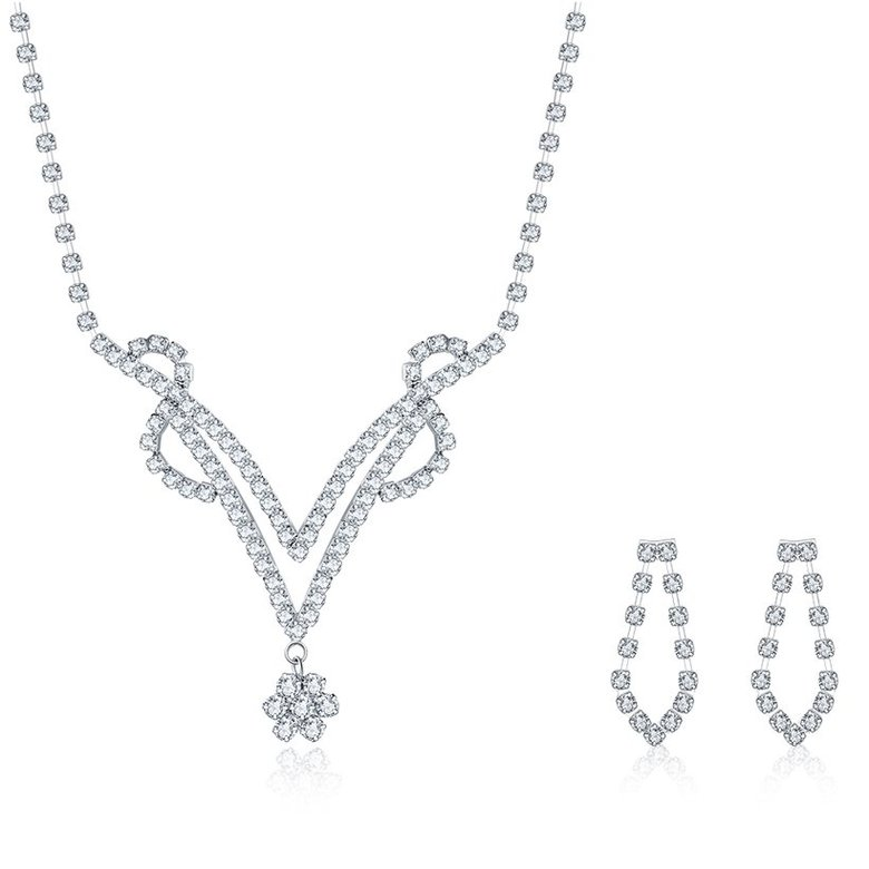 Wholesale Romantic Silver Plant White Crystal Jewelry Set TGSPJS813