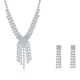 Wholesale Romantic Silver White Crystal Jewelry Set TGSPJS063