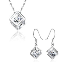 Wholesale Trendy Silver CZ Jewelry Set TGSPJS071
