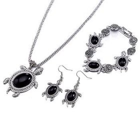 Wholesale Antique Silver Tortoise Glass Jewelry Set TGSPJS144