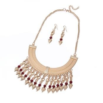 Wholesale Fashion Antique Gold Geometric Glass Jewelry Set TGSPJS158