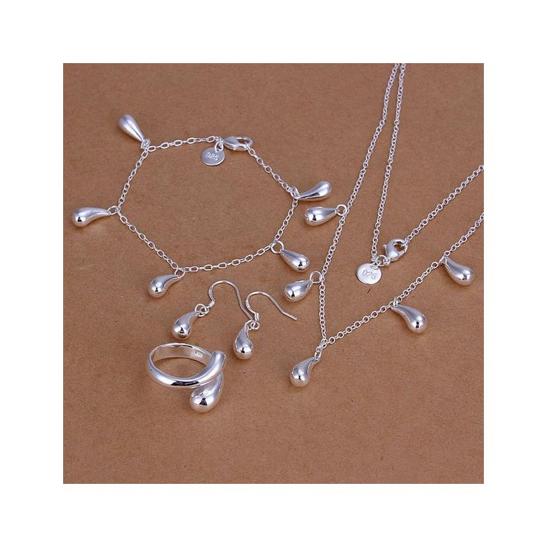 Wholesale Classic Silver Water Drop Jewelry Set TGSPJS702