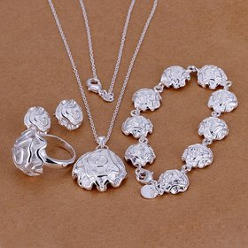 Wholesale Romantic Silver Plant Jewelry Set TGSPJS023