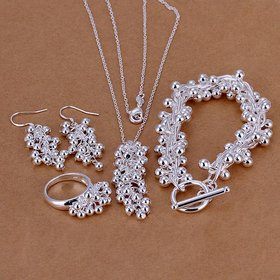Romantic Silver Ball Jewelry Set