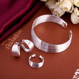 Wholesale Romantic Silver Round Jewelry Set TGSPJS056
