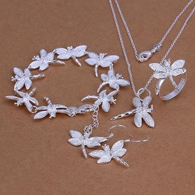 Wholesale Romantic Silver Insect Jewelry Set TGSPJS083