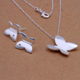Wholesale Trendy Silver Insect Crystal Jewelry Set TGSPJS128