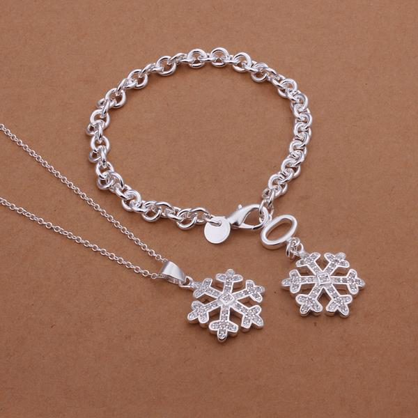 Wholesale Trendy Silver Plant Crystal Jewelry Set TGSPJS134