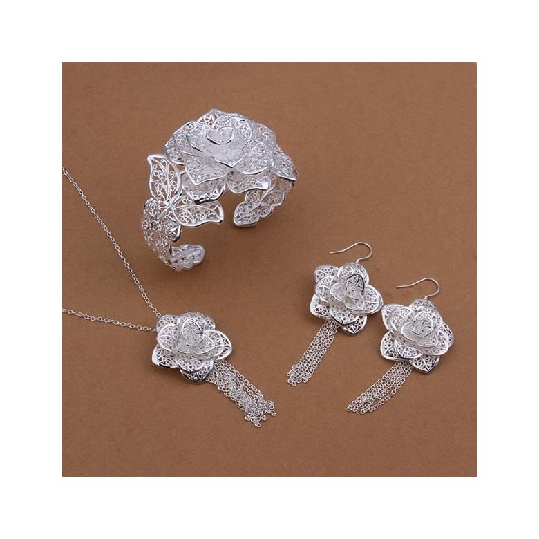 Wholesale Classic Silver Plant Jewelry Set TGSPJS259