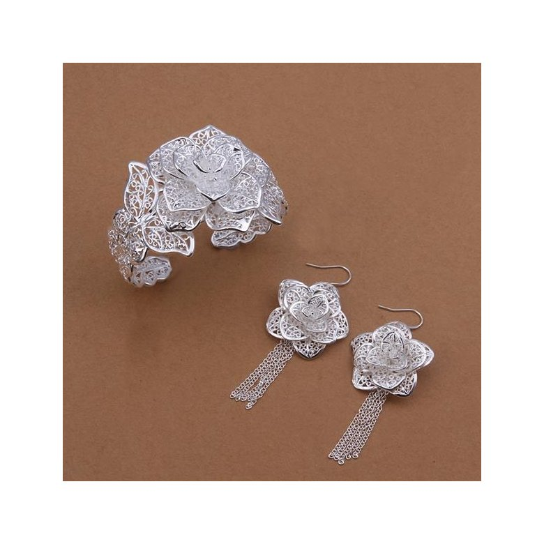 Wholesale Romantic Silver Plant Jewelry Set TGSPJS263
