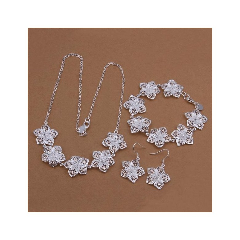 Wholesale Romantic Silver Plant Jewelry Set TGSPJS267