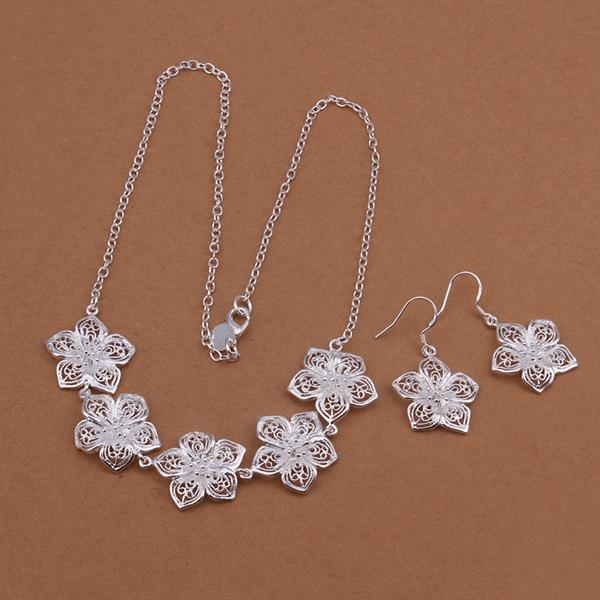 Wholesale Romantic Silver Plant Jewelry Set TGSPJS269
