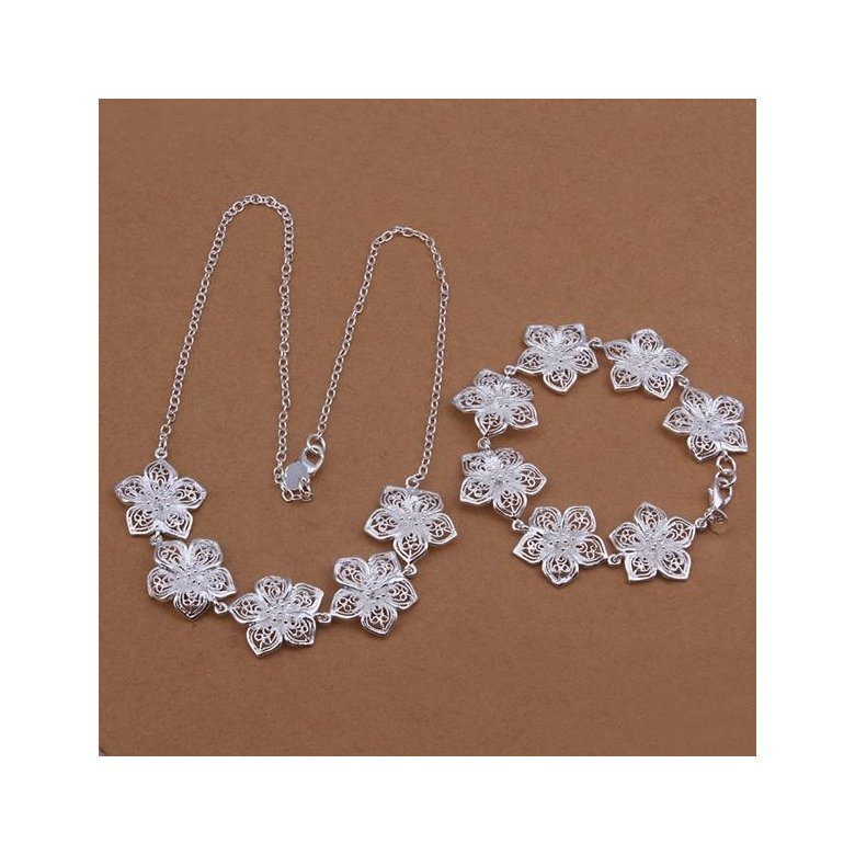 Wholesale Romantic Silver Plant Jewelry Set TGSPJS271