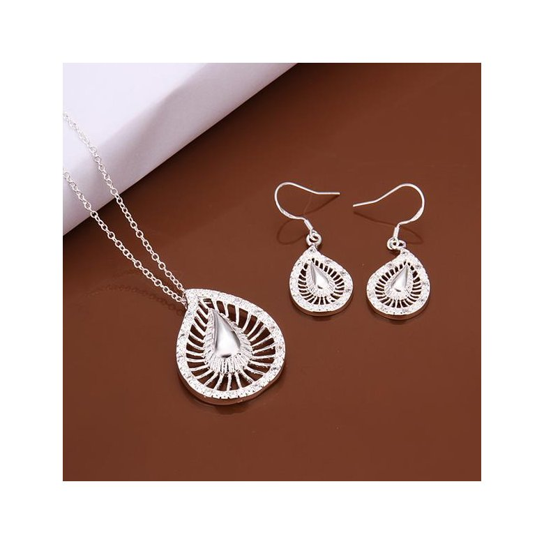 Wholesale Romantic Silver Water Drop Crystal Jewelry Set TGSPJS289