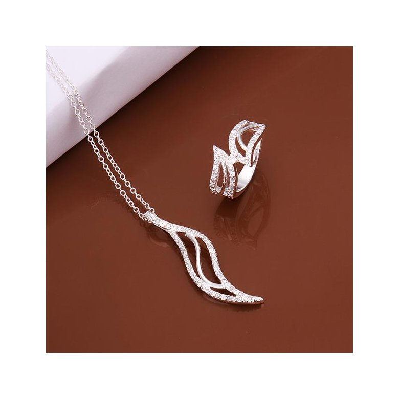Wholesale Romantic Silver Plant Crystal Jewelry Set TGSPJS370