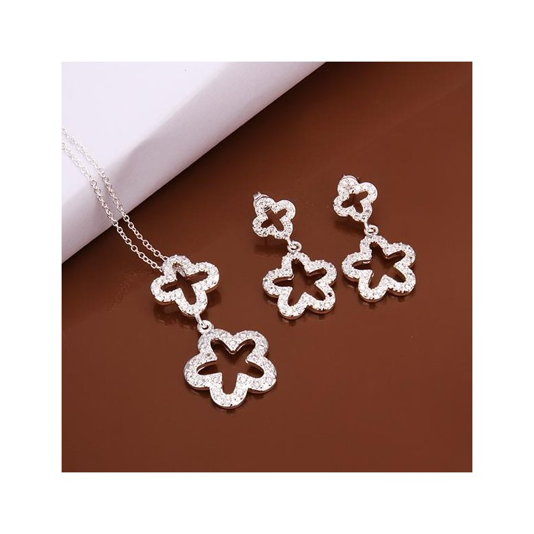 Wholesale Trendy Silver Plant Crystal Jewelry Set TGSPJS420