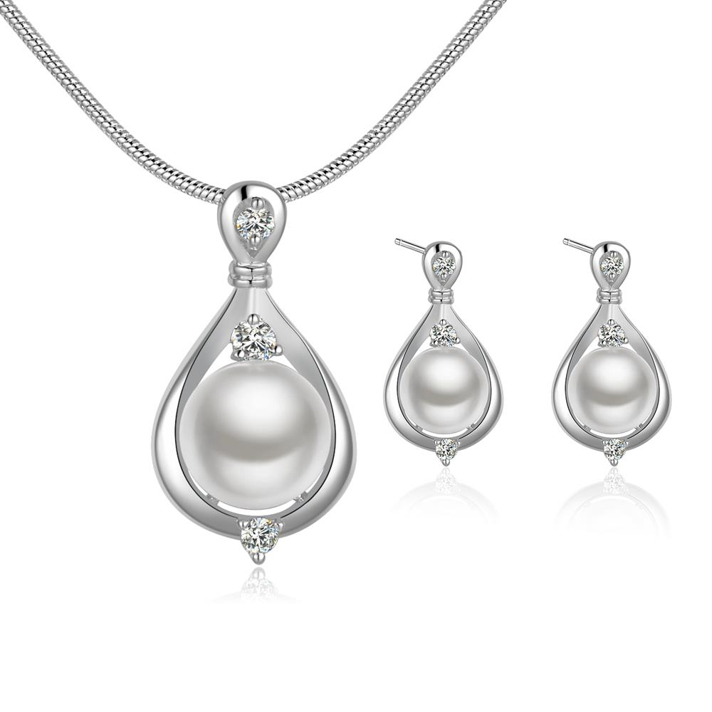 Wholesale Trendy Silver Round Crystal Jewelry Set TGSPJS234