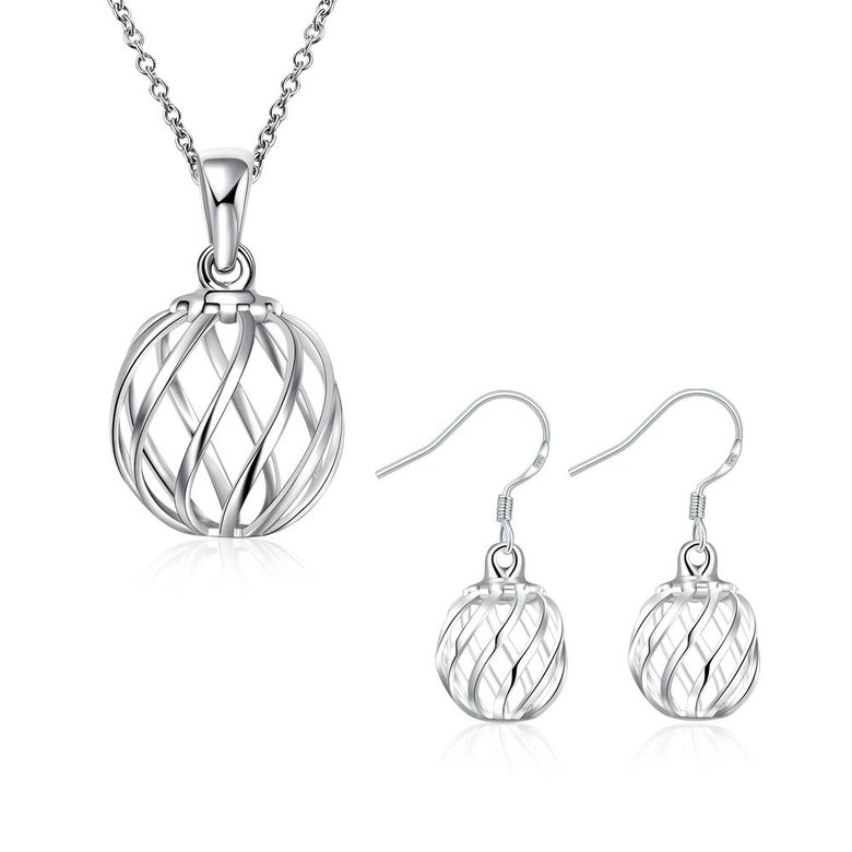 Wholesale Romantic Silver Round Jewelry Set TGSPJS379