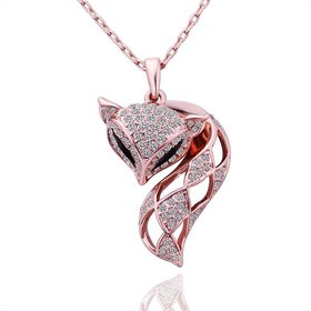 Korean Version Fashion Fox Alloy Crystal rose gold Pendant Necklace For Women Creative cute Animal Jewelry Wholesale
