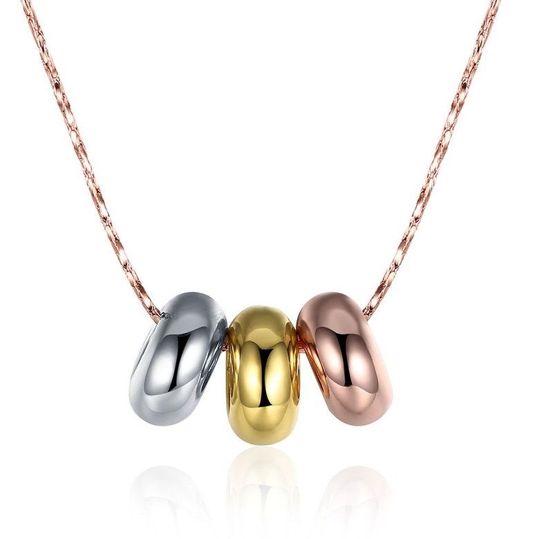 Wholesale High quality Three-color beads Necklace Rose Gold Circle Chain Link Necklace For Women temperament jewelry TGGPN056